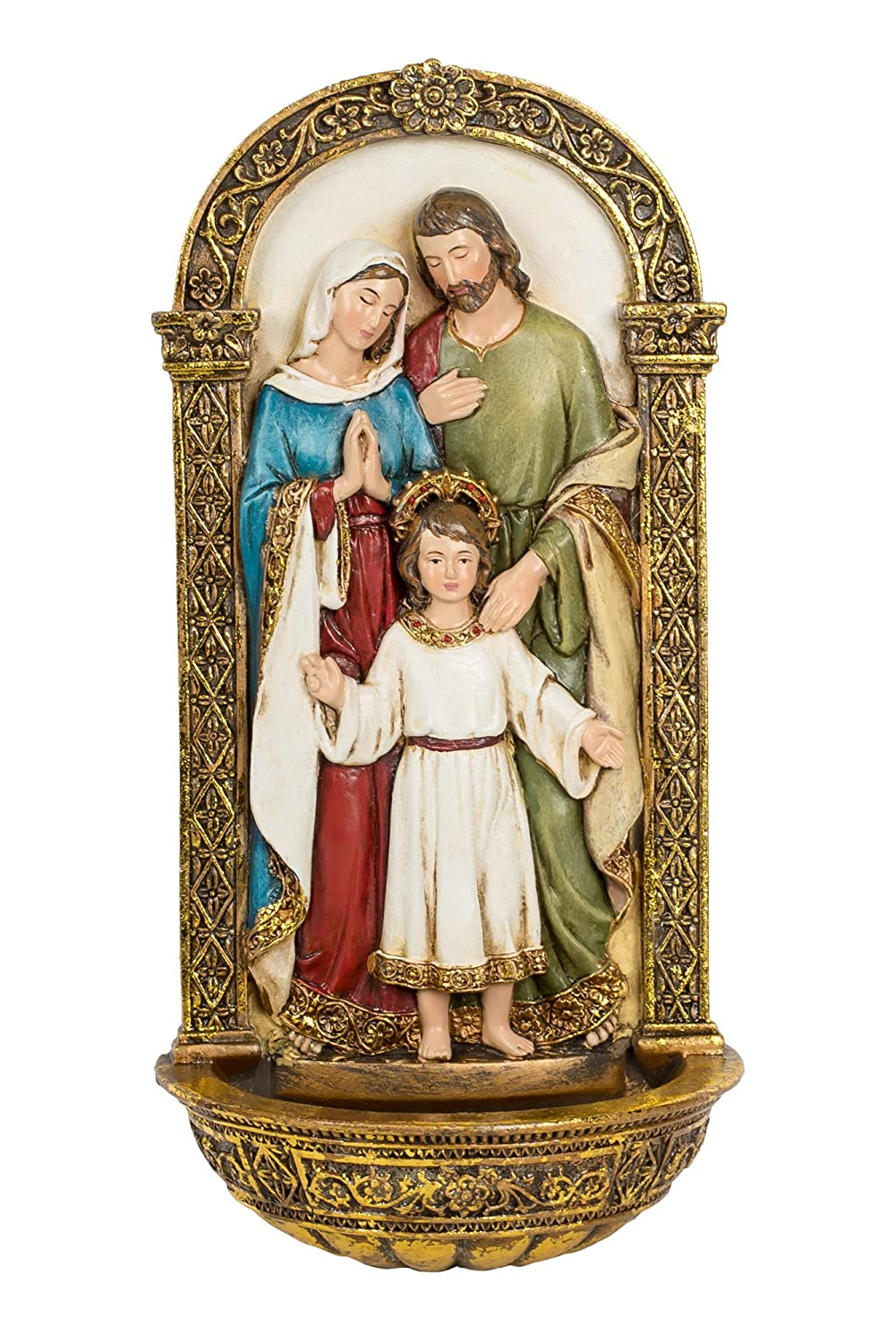 Vibrant Holy Family Gold Filigree 8 x 4 Inch Decorative Hanging Wall Figurine