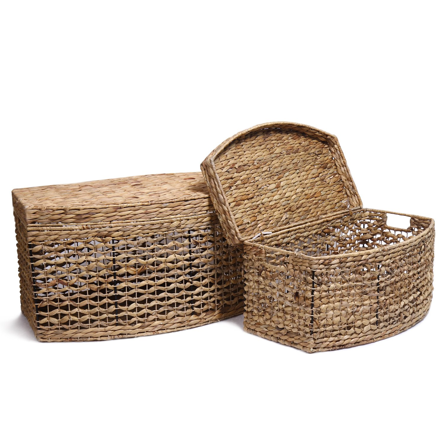Seagrass Storage Baskets: Adeco Multi-Purpose Seagrass Woven Basket Chest With Lid