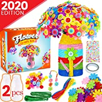 Goody King Flower Craft Kit for Kids - Arts and Crafts Make Your Own Button Felt Flowers Vase Project for Boys and Girls - Fun DIY Activity for Children Ages 4 5 6 7 8 9 10 Years Old