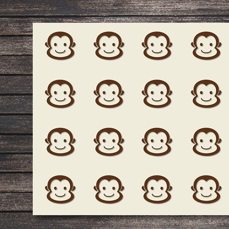 猿 動物 頭 顔 エイプ クラフト ステッカー 44枚 1.5インチ スクラップブック パーティー シール DIYプロジェクト アイテム265741 B07D5TJ5MV