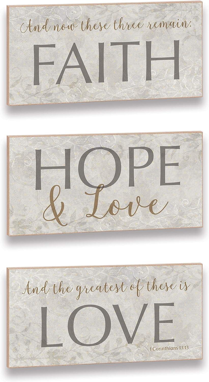 Imagine Designs Faith Hope Love Word Trio Set Plaque, Gray