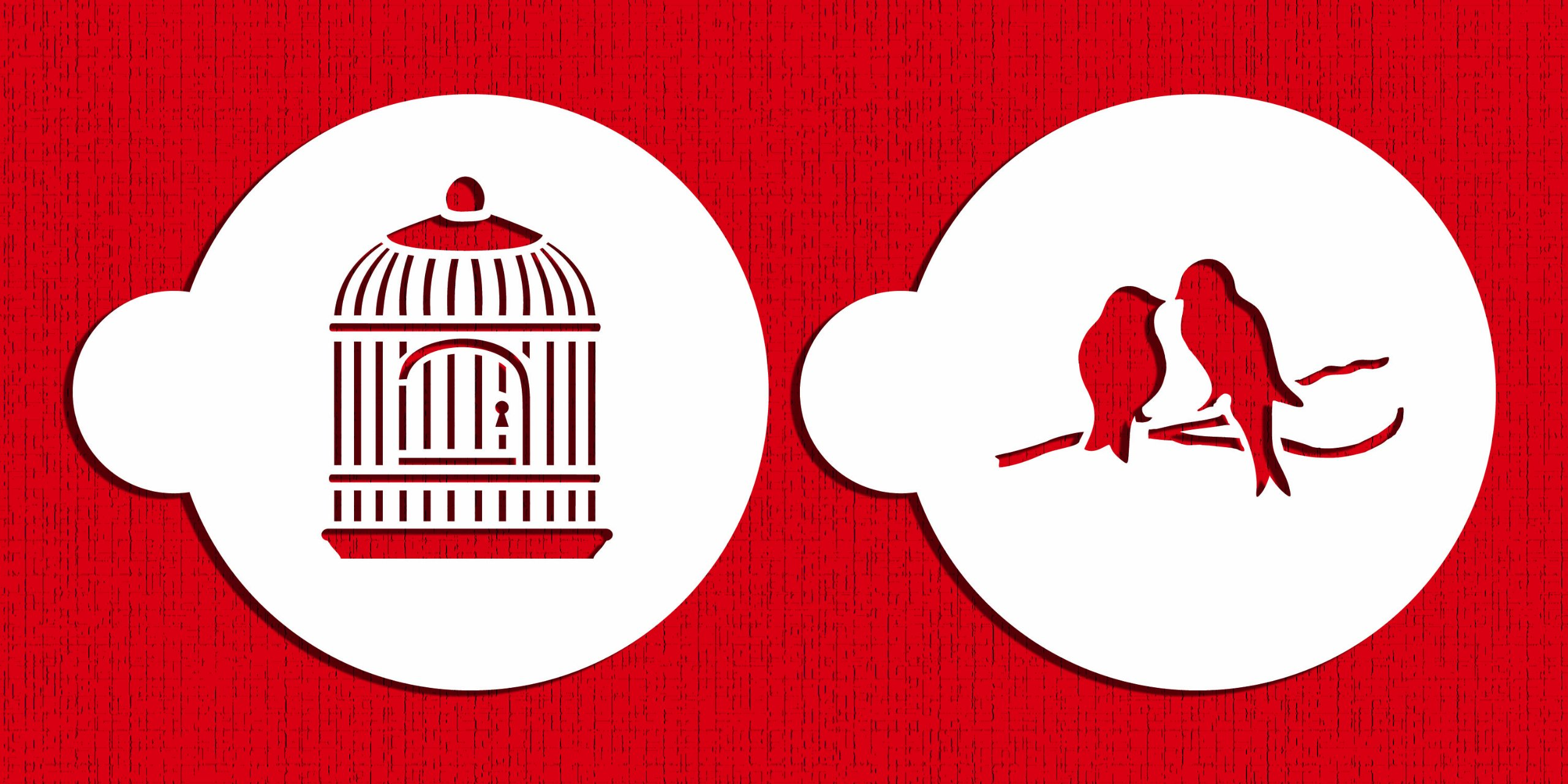 Designer Stencils C587 Love Birds Cookie Stencil Set, Beige/semi-transparent