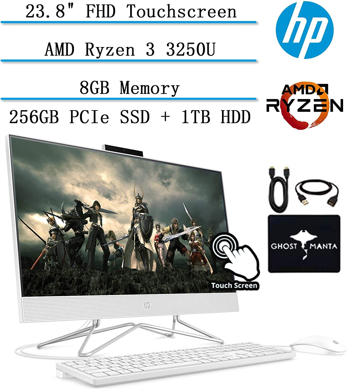 "2020 HP All-in-One Desktop 24"" FHD IPS Touchscreen Computer, AMD Ryzen 3 3250U 2.6GHz, 8GB RAM, 256GB PCIe SSD + 1TB HDD, Speaker, Webcam, Microphone, Wifi, Bluetooth, Win10, w/Ghost Manta Accessories"