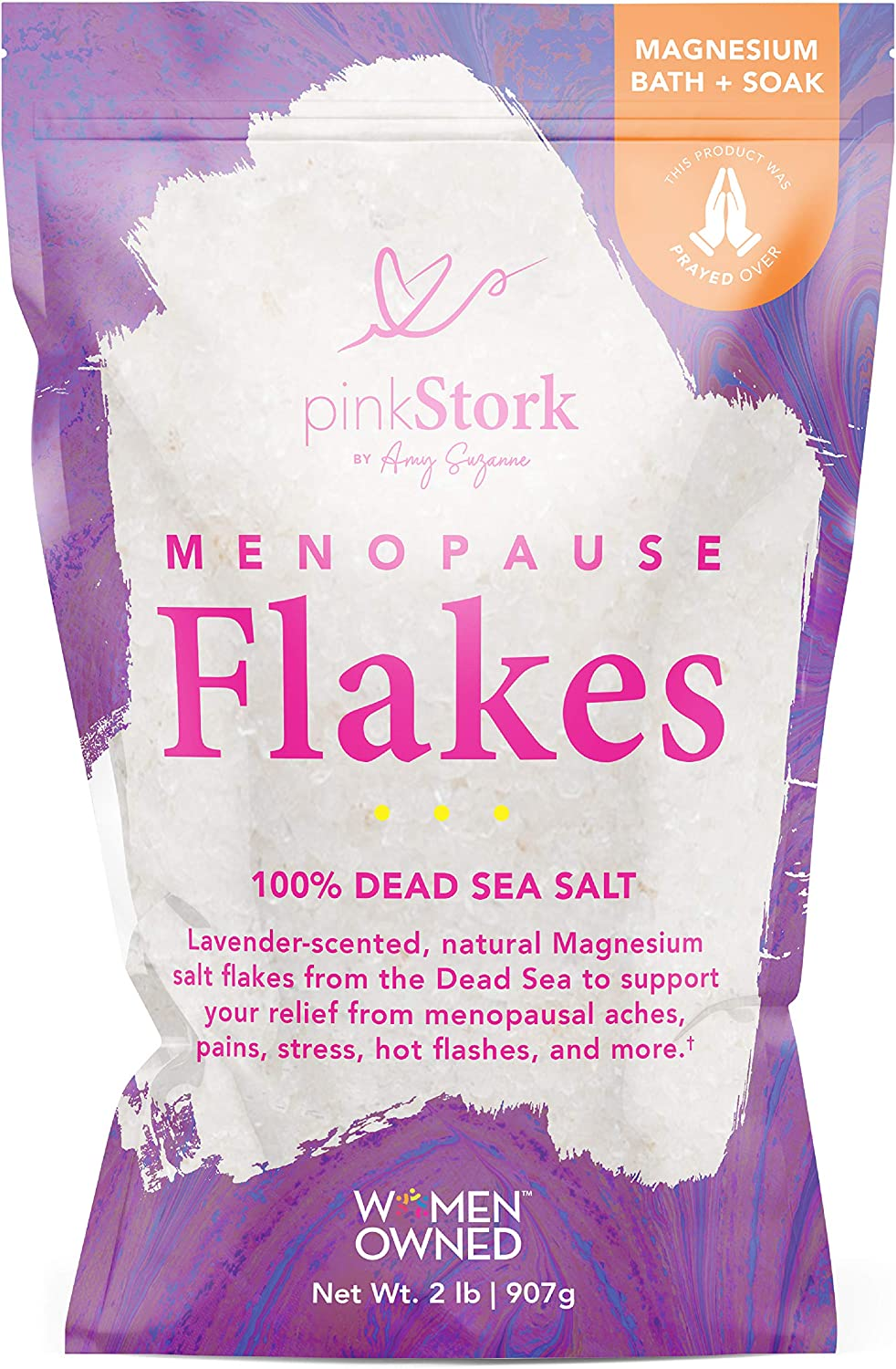 Pink Stork Menopause Flakes: Relaxing Lavender Scented Bath Salts for Women, Pure Magnesium from The Dead Sea, Supports Hot Flash Relief + Hormone Balance, Women-Owned, 2 Lbs