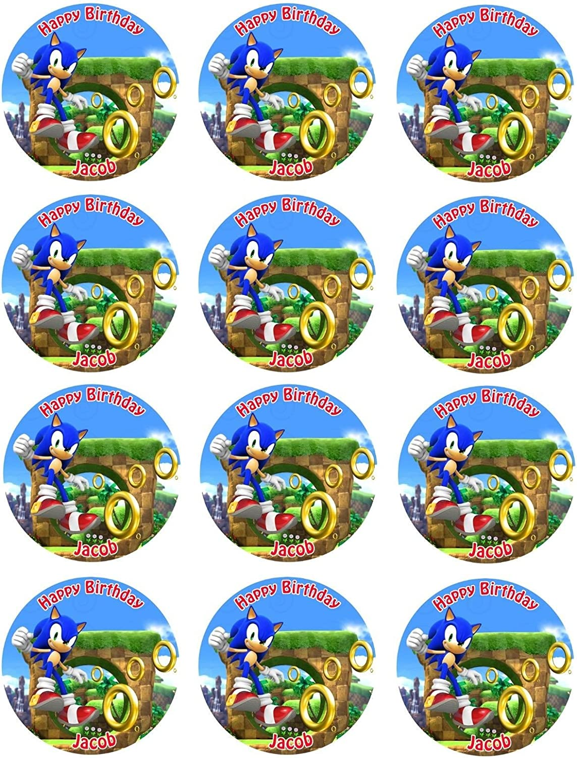 Amazon Com Sonic The Hedgehog Birthday Edible Image Cake Topper Decoration 2 X12 Cupcake Kitchen Dining