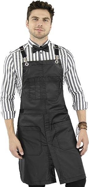 Matte Black Coated Twill Split-Leg Cross-Back Apron Leather Reinforcement