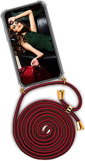 Image of OneFlow® Funda con Cuerda Compatible con iPhone X/iPhone XS - Carcasa Transparente de TPU con Cuerda para Colgar en el Cuello - Vert/Rouge