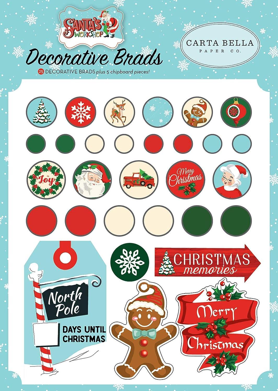 Blue red Green Black Carta Bella Paper Company CBSW90020 Santas Workshop Decorative brads