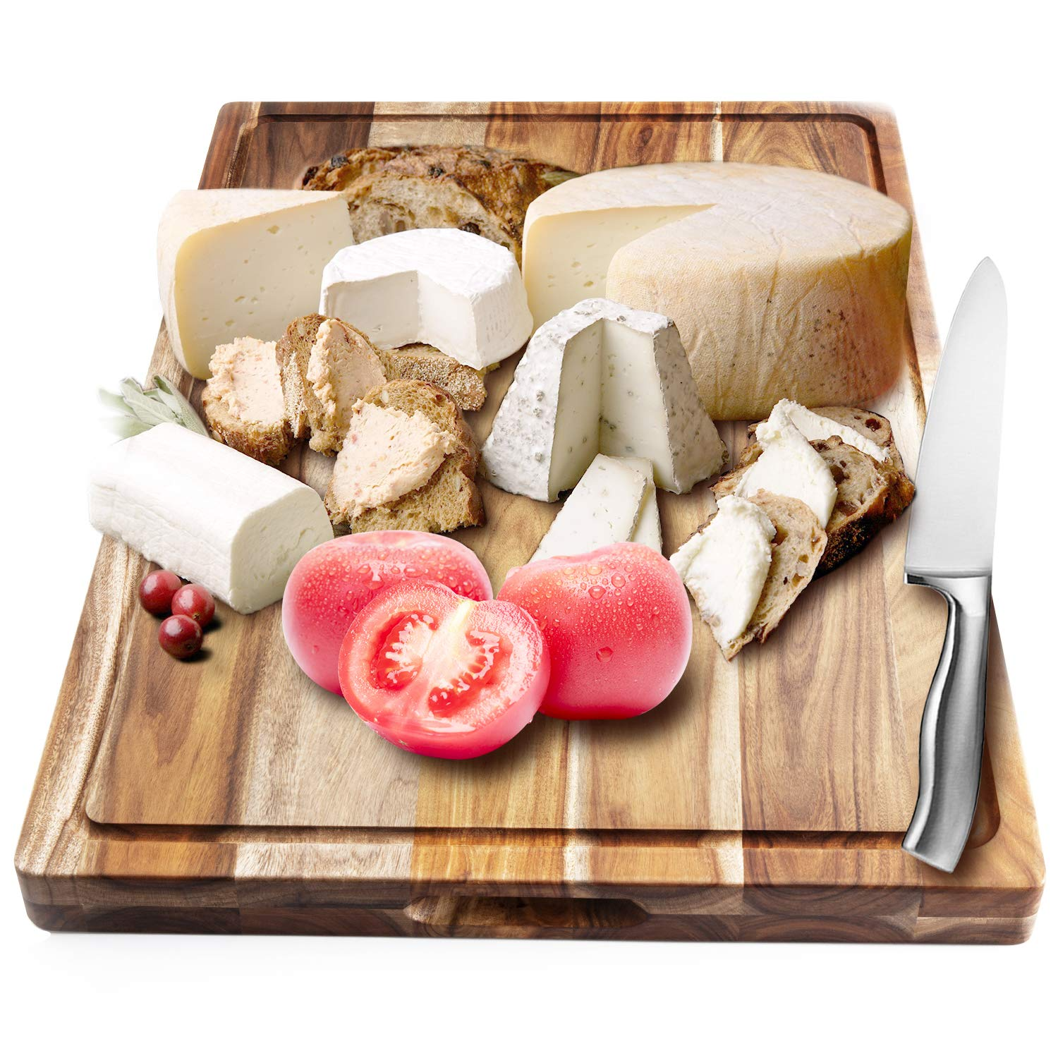 AIJAI Natural Wood Cutting Board, 24'x17.9'x1.5' Large Multipurpose Thick Acacia Wood Chopping Board for Kitchen Serving Tray for Vegetables, Fruit, Meat, Fish & Cheese| Reversible Butcher Block