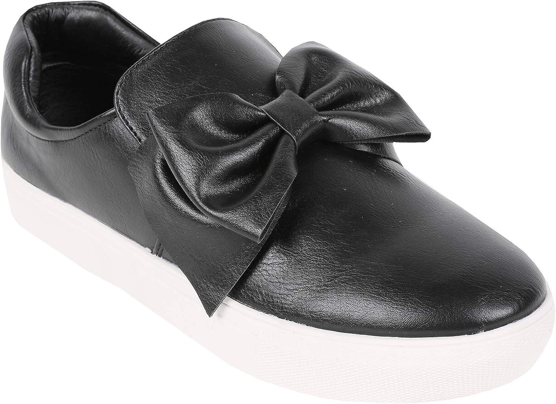 Womens Flatform Loafers Bow Tie Knot Slip on Flat Platform Sneakers Walking Shoes