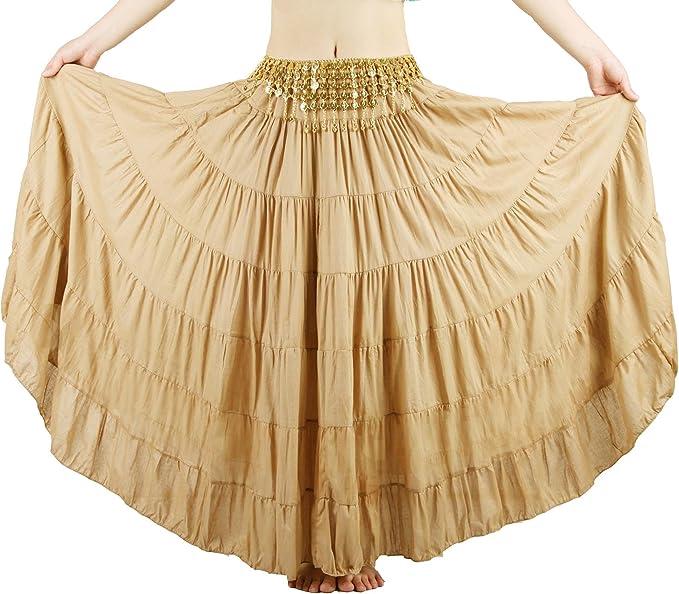 Seawhisper® Falda Bohemia Maxi Larga Gitano Tribal para Danza del ...