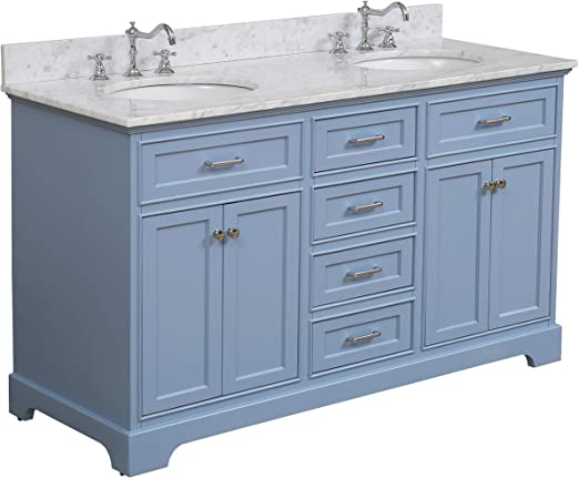 Amazon Com Aria 60 Inch Double Bathroom Vanity Carrara Powder Blue Includes A Powder Blue Cabinet With Soft Close Drawers Authentic Italian Carrara Marble Countertop And White Ceramic Sink Kitchen Dining
