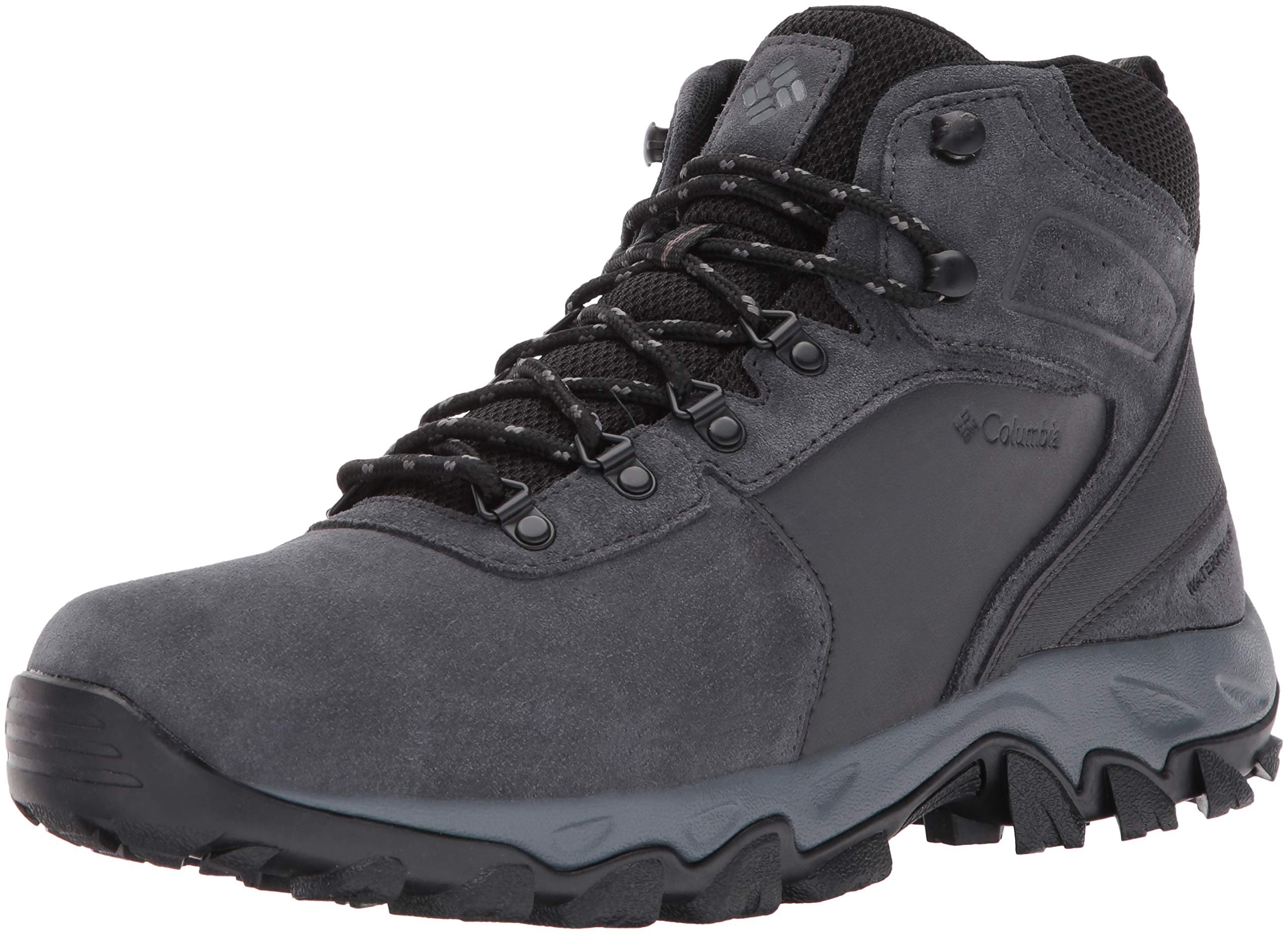 Columbia Men's Newton Ridge Plus II Suede Waterproof Boot Wide, Breathable High-Traction Grip shark, black 7 US