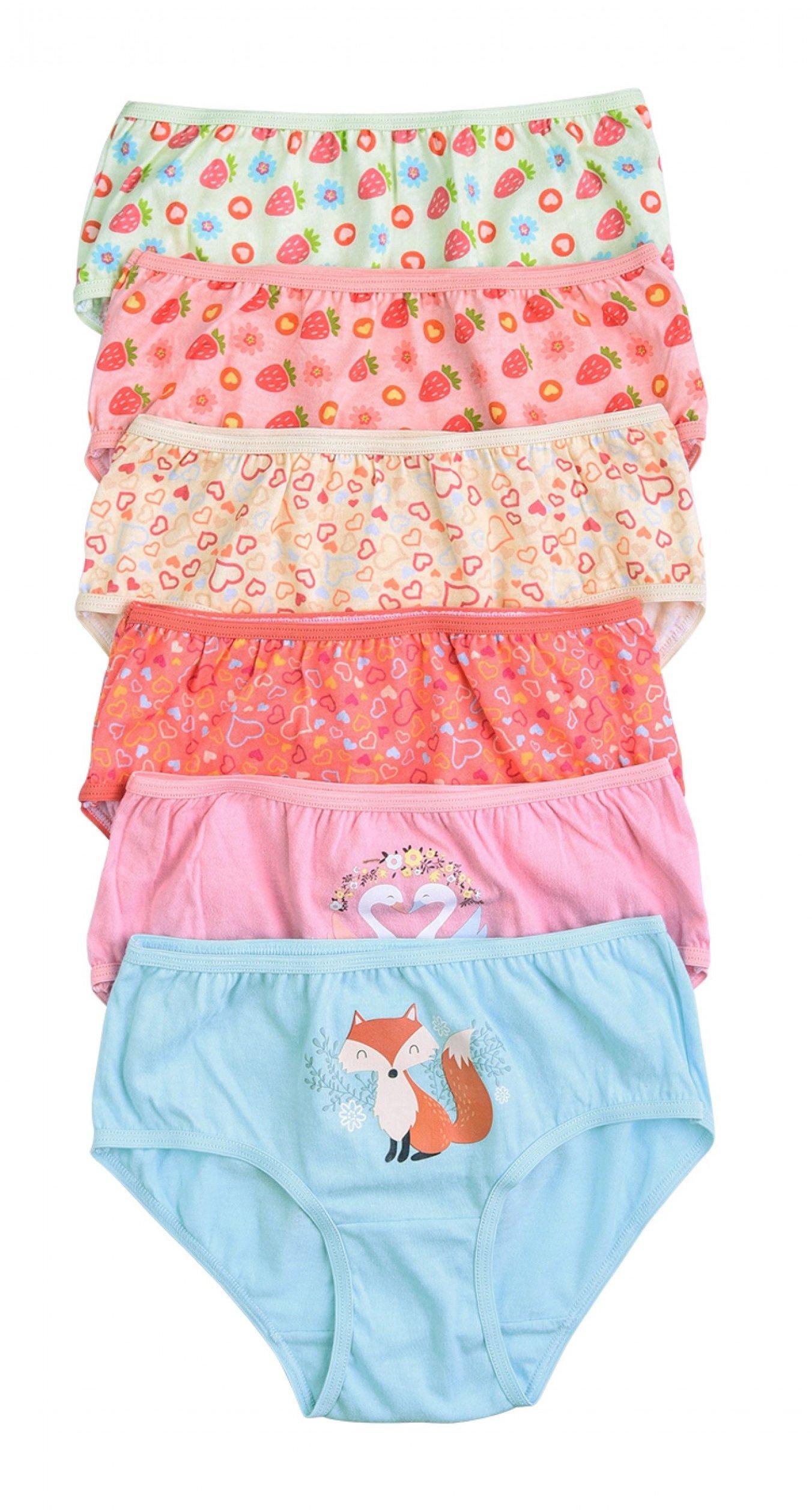 ToBeInStyle Girls' Pack of 6 Love & Strawberries Print Cotton Briefs - M