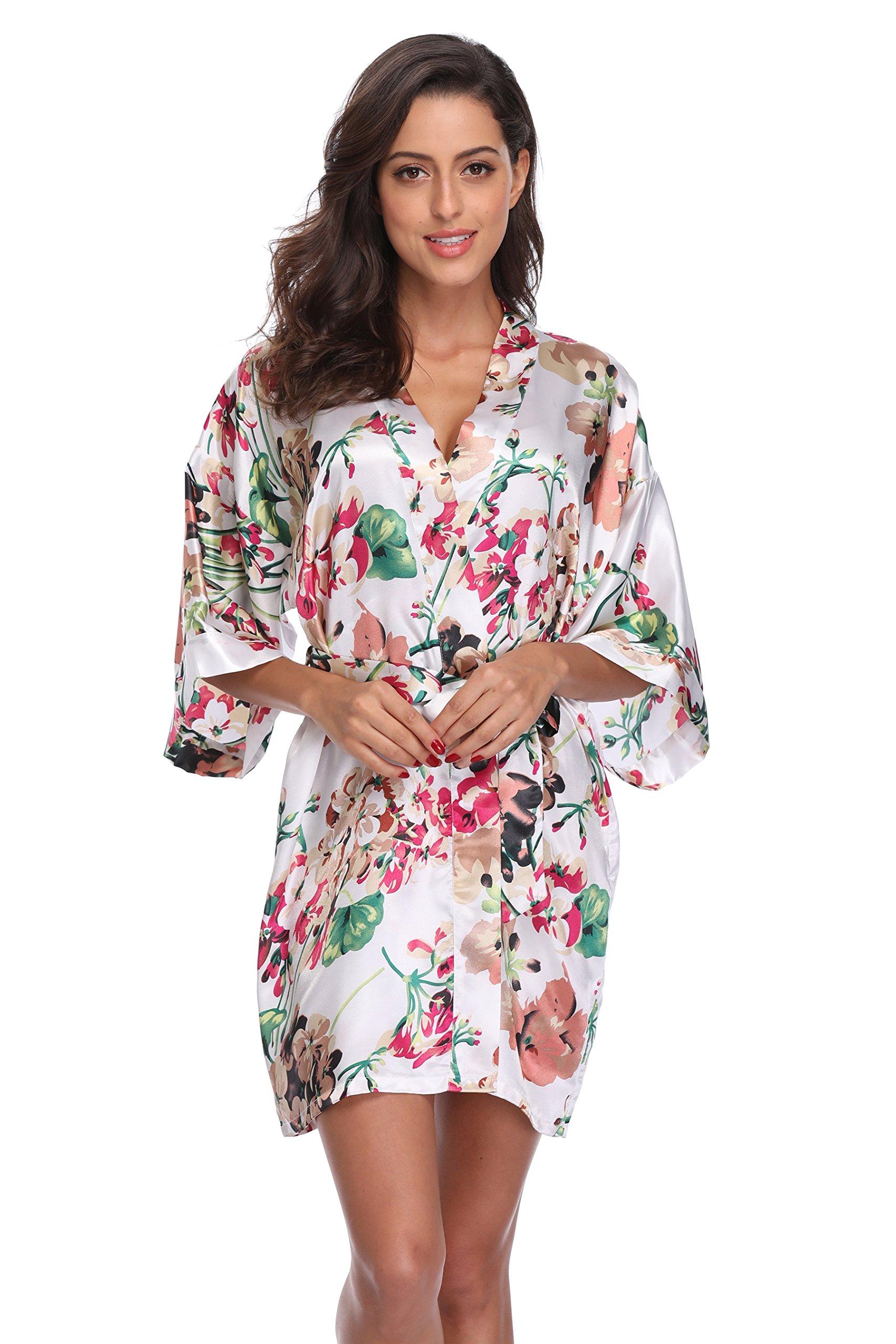 CostumeDeals KimonoDeals Women's dept Satin Bathrobe Floral Short Kimono Robe for Bridesmaid Wedding Party, White XL