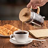 Covos French Press Coffee Maker 21 oz with 4 Filter Screens, Durable 304 Grade Stainless Steel Heat Resistant Borosilicate Glass Tea Maker Bamboo Handle, with Cleaning Brush and spoon