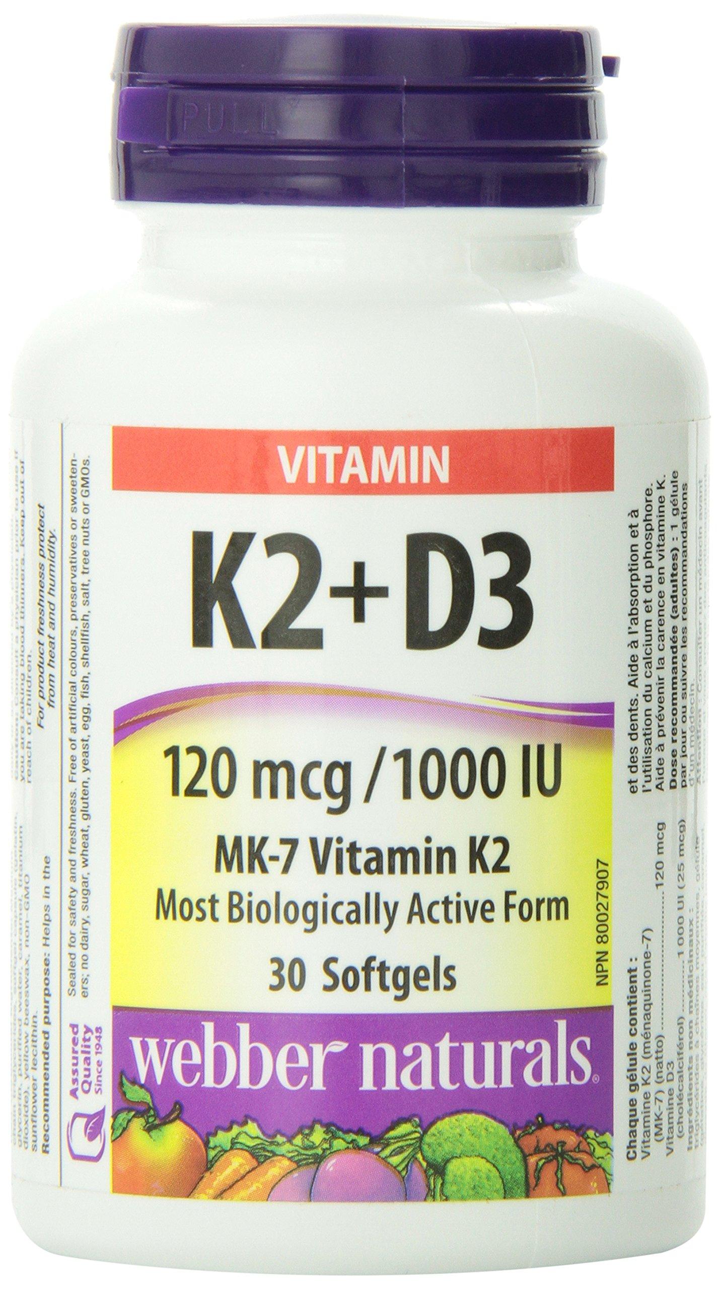 Webber Naturals Vitamin K2 + D3, 30 softgels