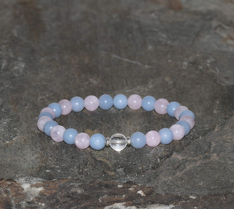 Pulsera de Morganita Rosa y Angelita Azul de 6 mm con Cuenta Gurú de Cuarzo Cristal de 6.5 mm, Piedras Preciosas Naturales Grado AAA, Plata, Brazalete de los Elementos, Aire
