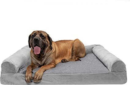 Multiple Sizes and Colors Styles Plush Orthopedic Sofa-Style Dog Bed Ergonomic Contour Cradle Dog Bed and Calming Anti-Anxiety Faux Fur Cuddler Donut Bed for Dogs and Cats Furhaven Pet