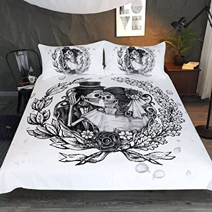 Amazon.com: Sleepwish Vintage Skull Bedding, Goth Skulls Married