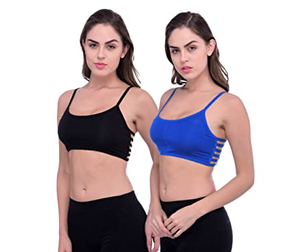 a7d64f29696 PIFTIF 6 STRIPS CAGE BACK REMOVABLE PAD SPORTS BRA FOR GYM YOGA EXCERSISE  WORKOUT DANCING AROBICS WALKING FITNESS SPORTS BRA BLACK BLUE  Amazon.in   Clothing ...