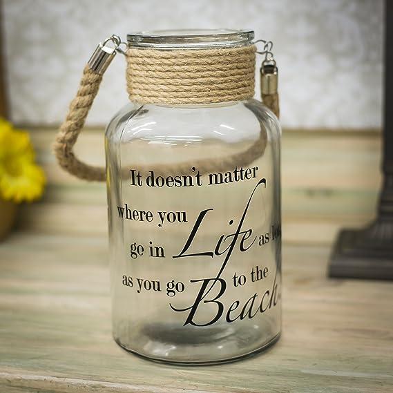 Beach Life Life da 10 pollici Lanterna del barattolo di vetro con maniglia di corda di spago