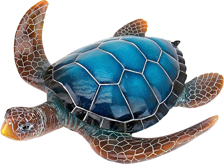 Design Toscano QL59584 Blue Sea Turtle Statue: Large, Full Color