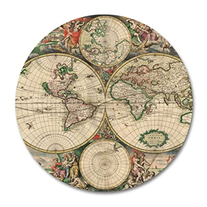 Amazon map mouse pad by smooffly vintage world map mousepad map mouse pad by smoofflyvintage world map mousepad round non slip rubber mouse pad gumiabroncs Images