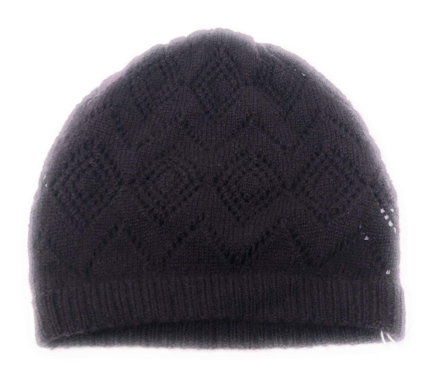 100% Cashmere Ladies Lacy Knit Beanie Hat - Plum Purple