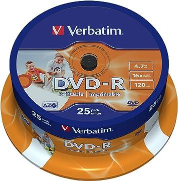 Verbatim 43538 - Pack de 25 DVD-R Imprimable: Amazon.es: Informática