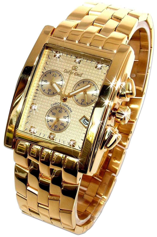 Oskar Emil Rodez Chronograph Herren Uhr mit Diamanten Gold