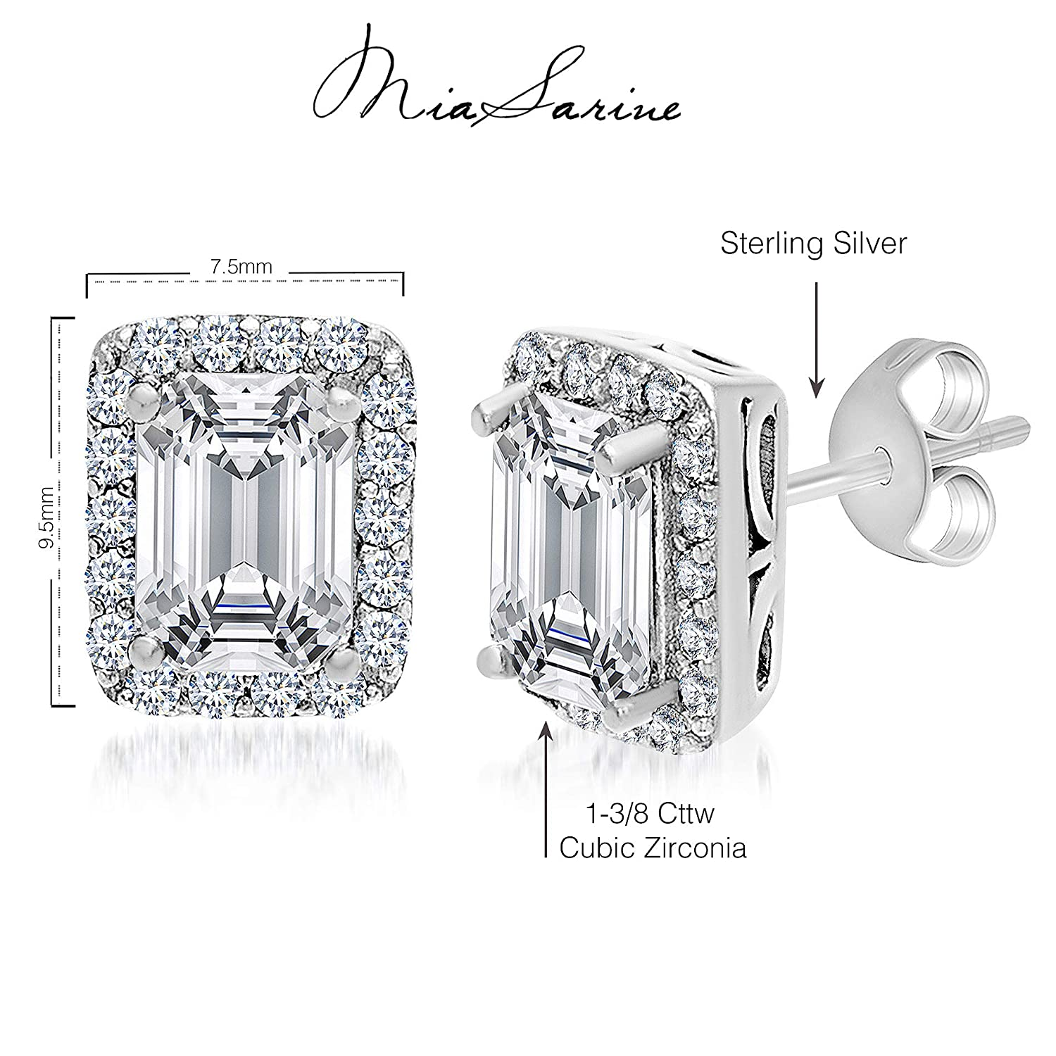 Various Colors MIA SARINE Cubic Zirconia Halo Stud Earrings for Women in 925 Sterling Silver