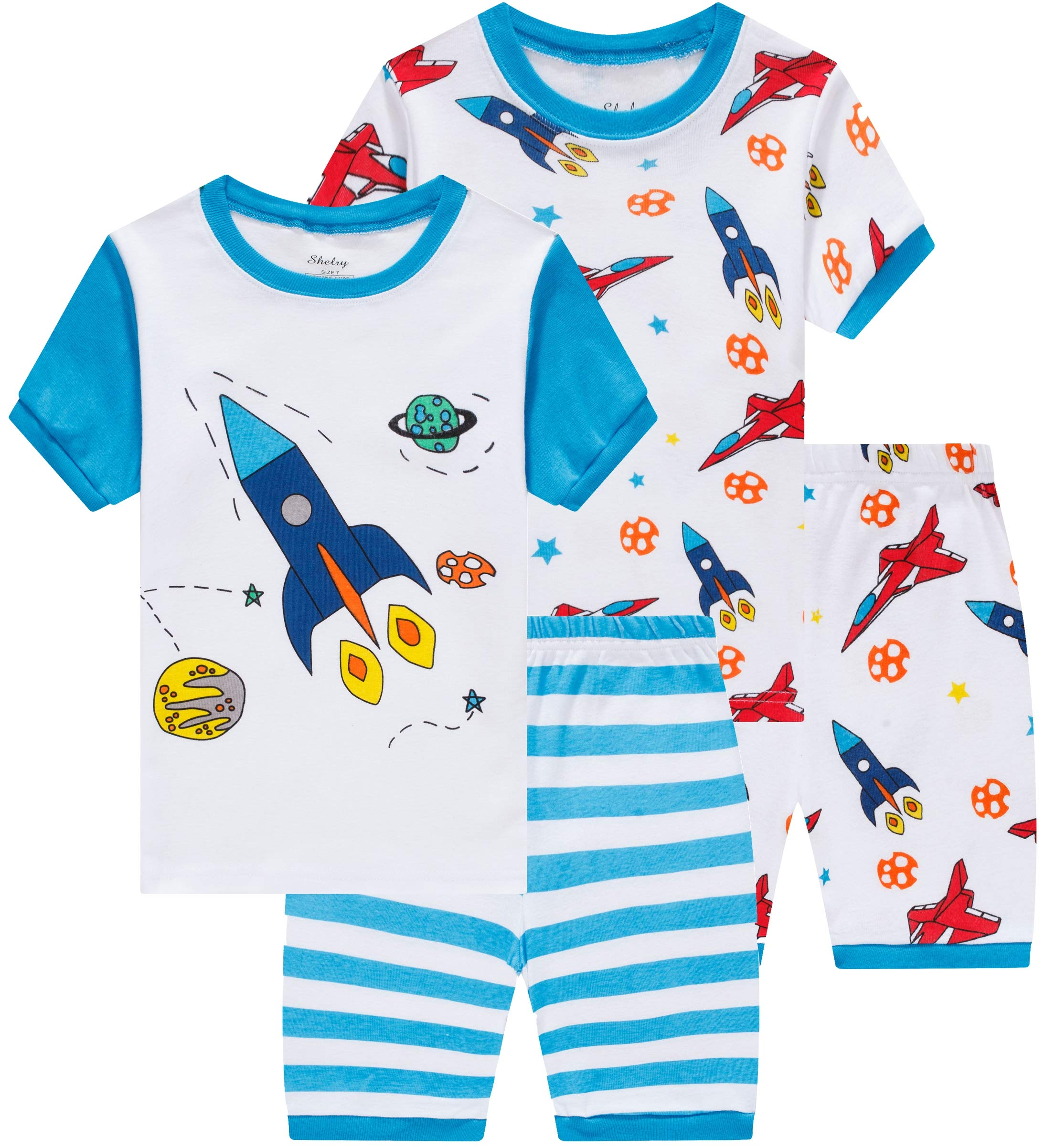 shelry Summer Boys Rocket Pajamasb 4 Pieces Baby Airplane Clothes Toddler Kids Short Pj Set 5t
