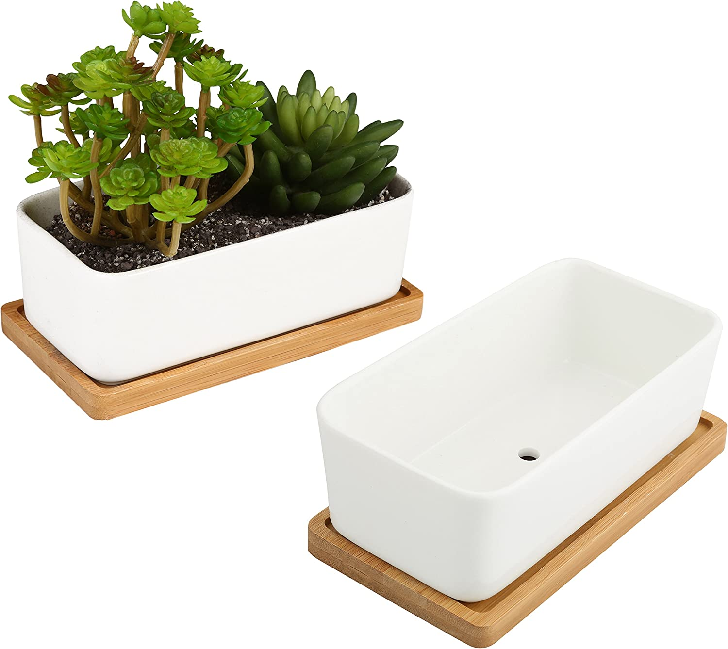 White Ceramic Rectangular Succulent Planters with Removable Bamboo Saucers, Set of 2