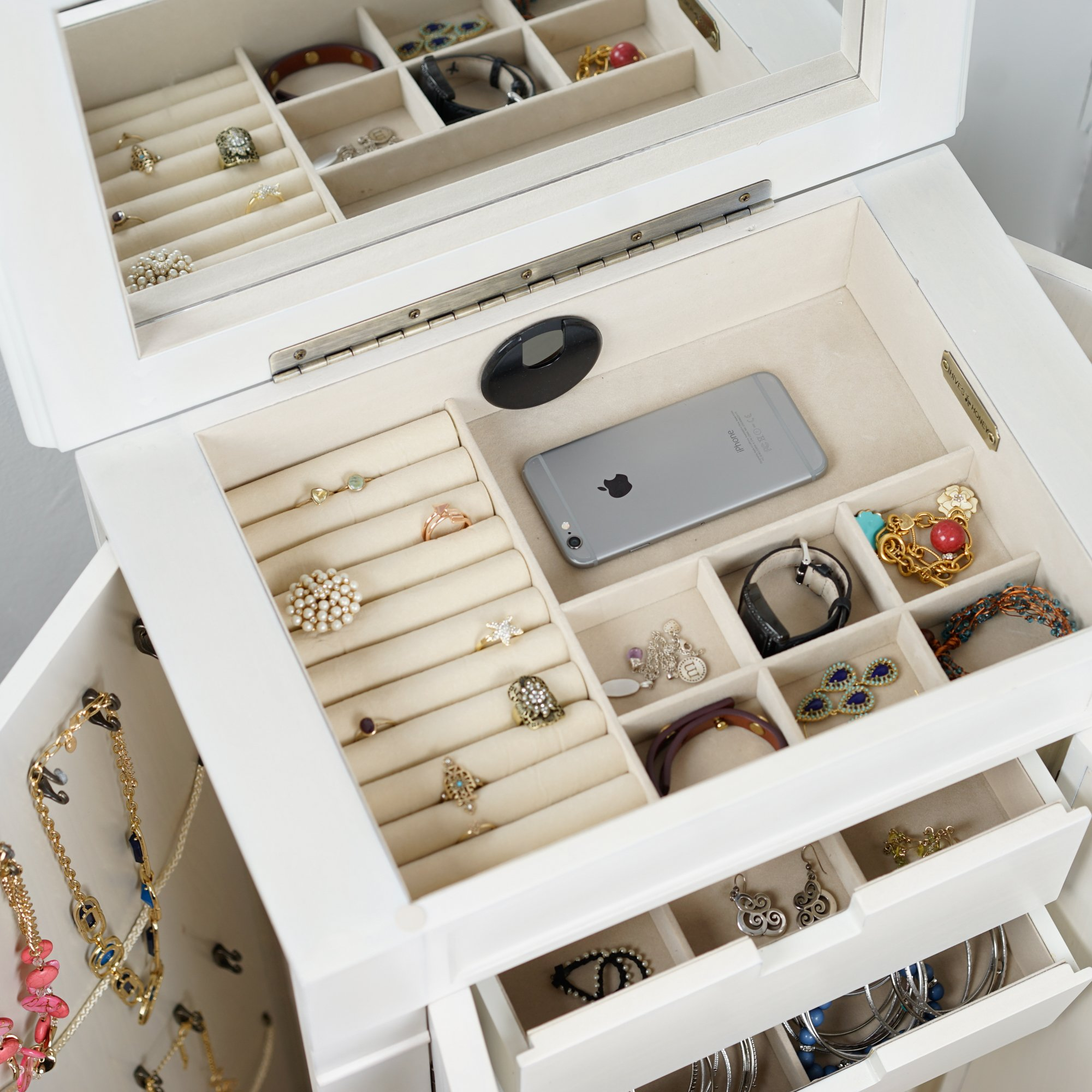 Hives and Honey ''Celene'' Jewelry Armoire, Century White by Hives and Honey (Image #3)