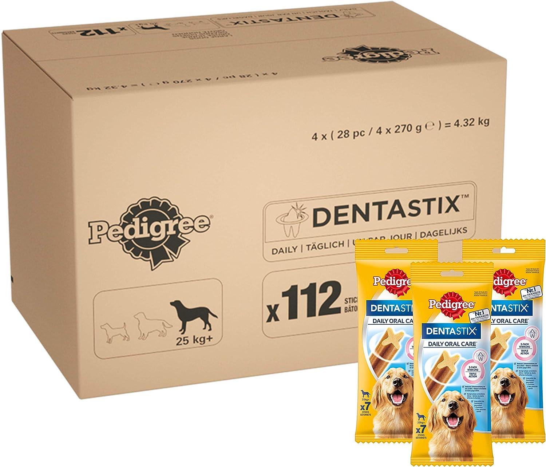 Pedigree - Barritas DentaSix para perros, 4x4x(7pc/270gr)= 4,32 kg .112 ud diaria para higiene oral