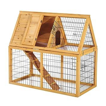 Pawhut Conejera de madera para mascotas, 2 niveles, 121 cm, jaula y rampa para cobayas, aves, conejos pequeños: Amazon.es: Productos para mascotas