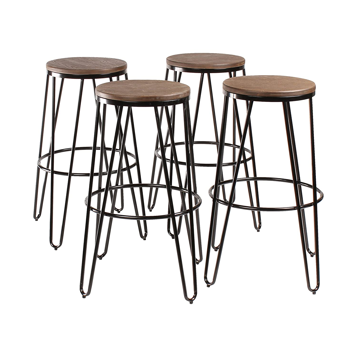Admirable Kate And Laurel Tully Backless Modern Wood And Metal 30 Bar Stools Set Of 4 Black With Wood Seat Cjindustries Chair Design For Home Cjindustriesco