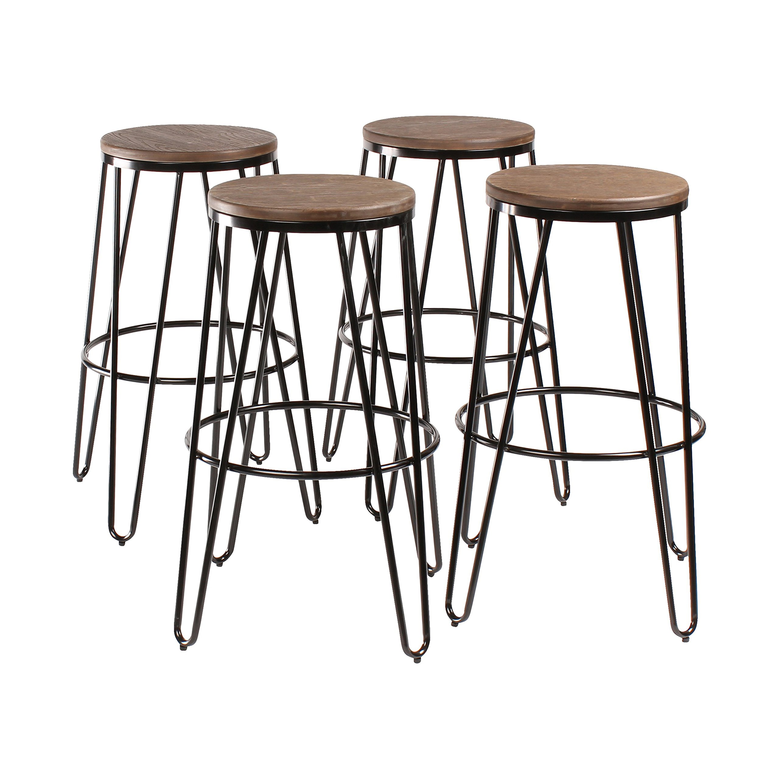 Kate and Laurel Tully Backless Modern Wood and Metal 30'' Bar Stools, Set of 4, Black with Wood Seat by Kate and Laurel