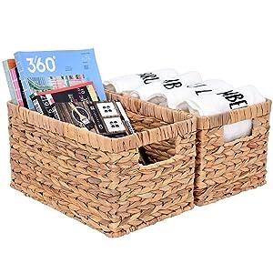 "StorageWorks Water Hyacinth Storage Baskets, Rectangular Hand Woven Basket with Handle, 12.9"" x 8.4"" x 7"", 2-Pack"