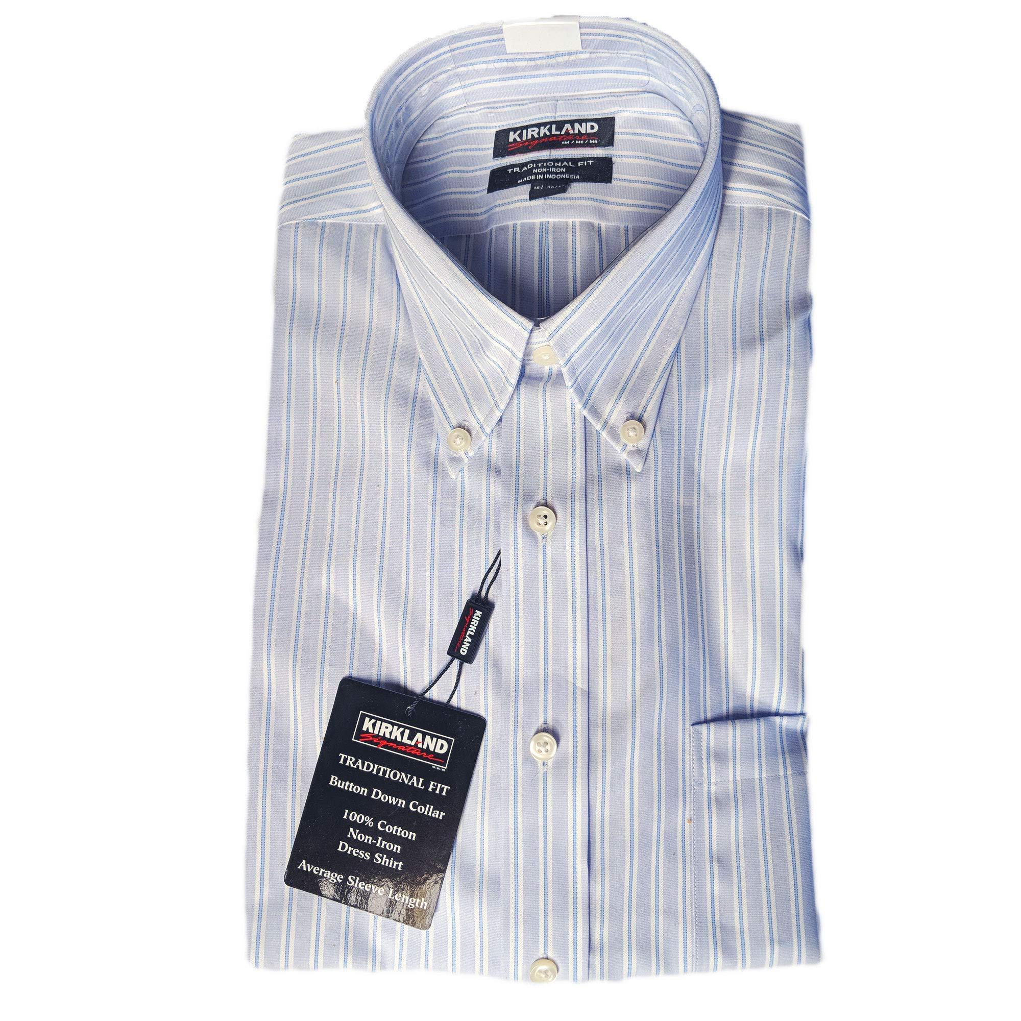 Kirkland Signature Traditional Fit Long Sleeve Dress Shirt Mens Non Iron VARIATY