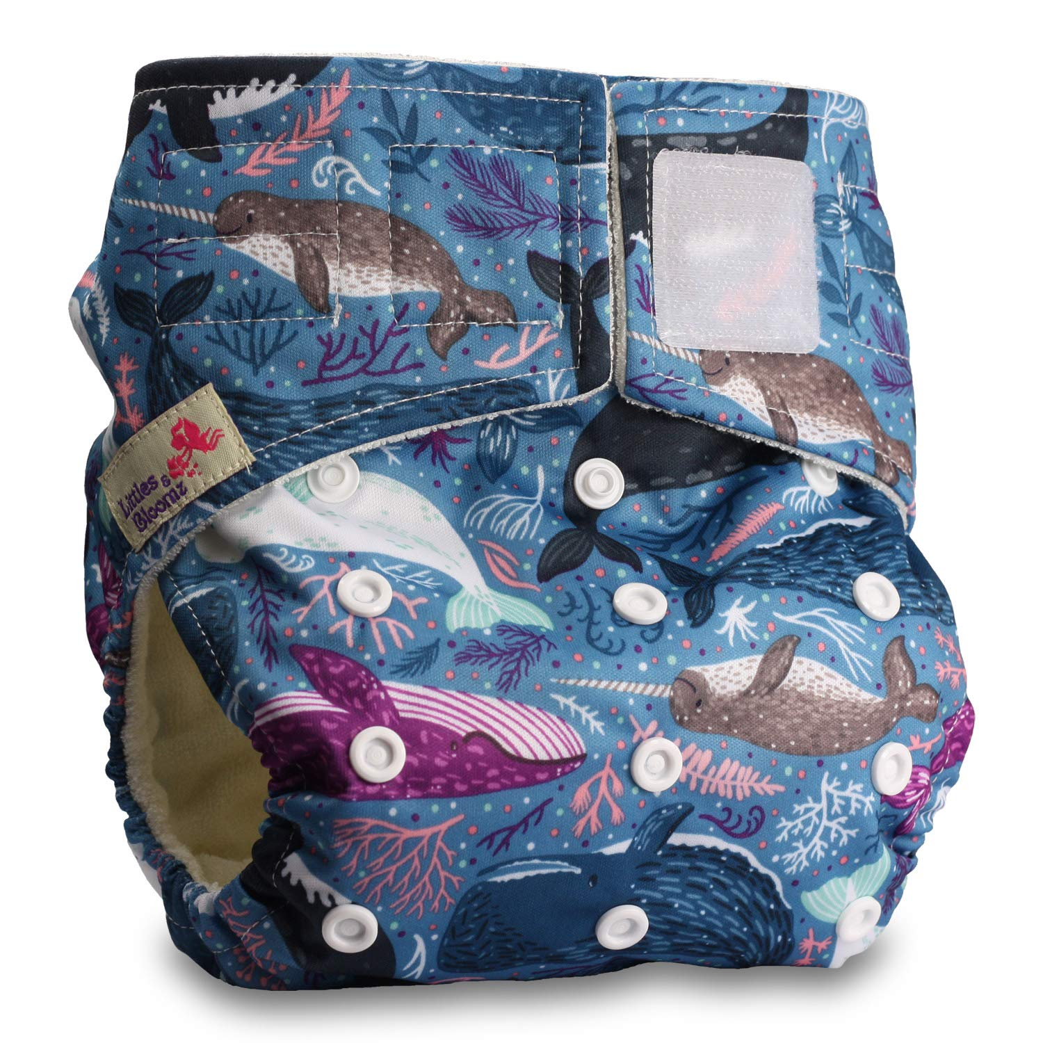Fastener: Hook-Loop with 1 Bamboo Charcoal Insert Baby Cloth Washable Reusable Nappy Pocket Diaper Bamboo Pattern 59 Littles /& Bloomz