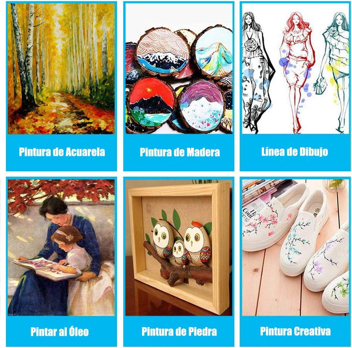 Pinceles para Pintura, 10 Piezas Pinceles Acrilico, Miniatura ...