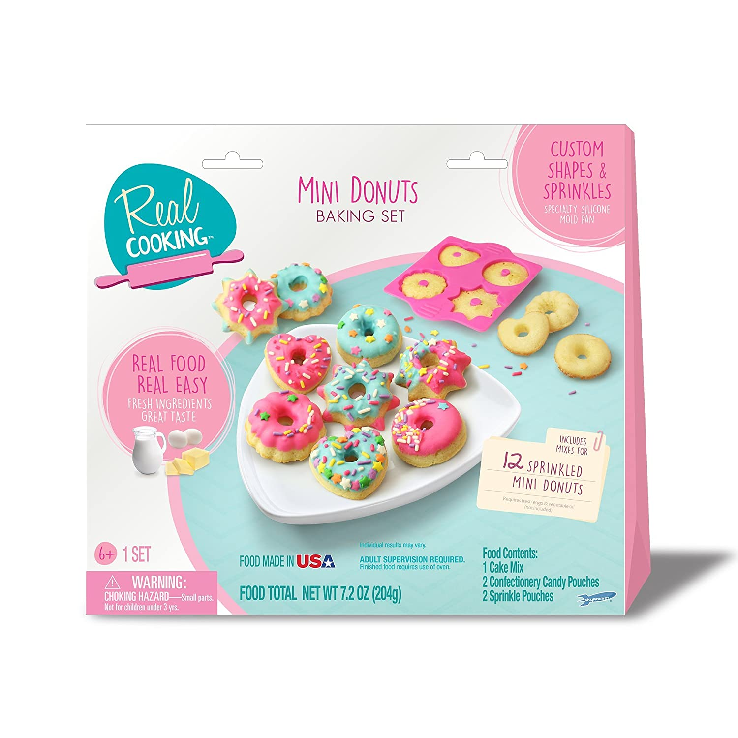 Amazon real cooking sprinkled mini donuts baking set 6 pc amazon real cooking sprinkled mini donuts baking set 6 pc kit includes cake mix sprinkles candy toys games forumfinder Images