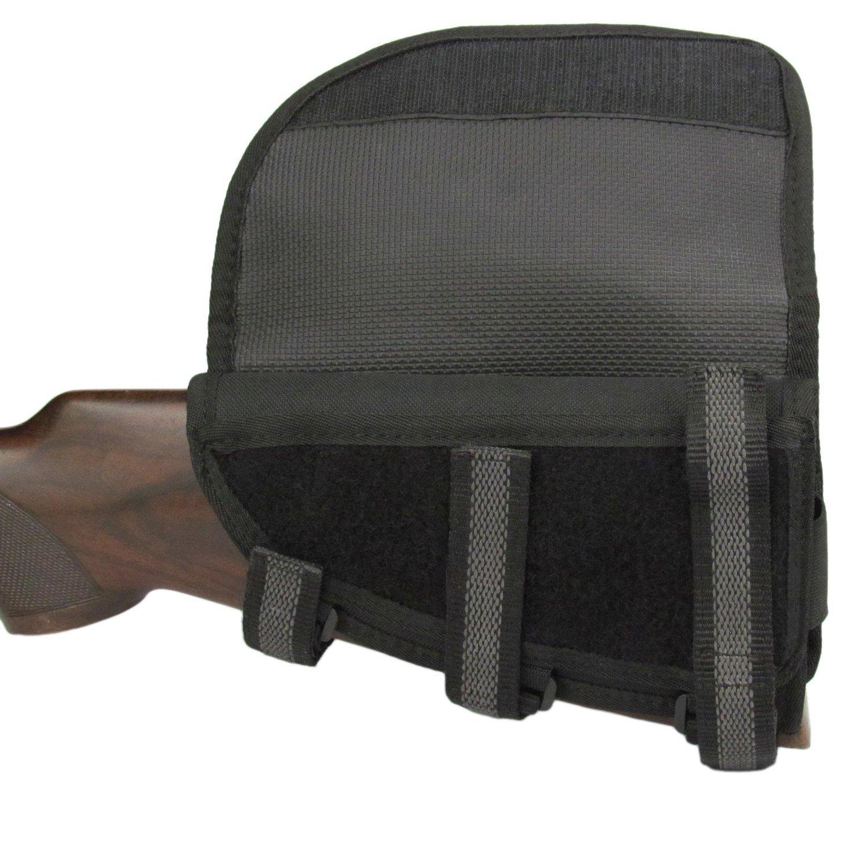 TOURBON Adjustable Cheek Rest Riser Pad Rifle Buttstock Shell Holder (Black, Left Hand)