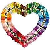 Foxnovo Farblich multicolor bunt Basteln 150 matassine di 8m multi-colore morbido cotone Cross Stitch ricamo fili Floss cucirini (colore casuale)