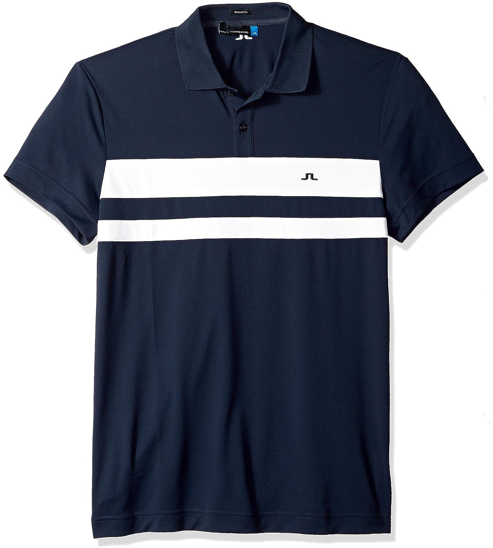J.Lindeberg Men's Double Stripe Jersey Polo Shirt, 86MG539685088