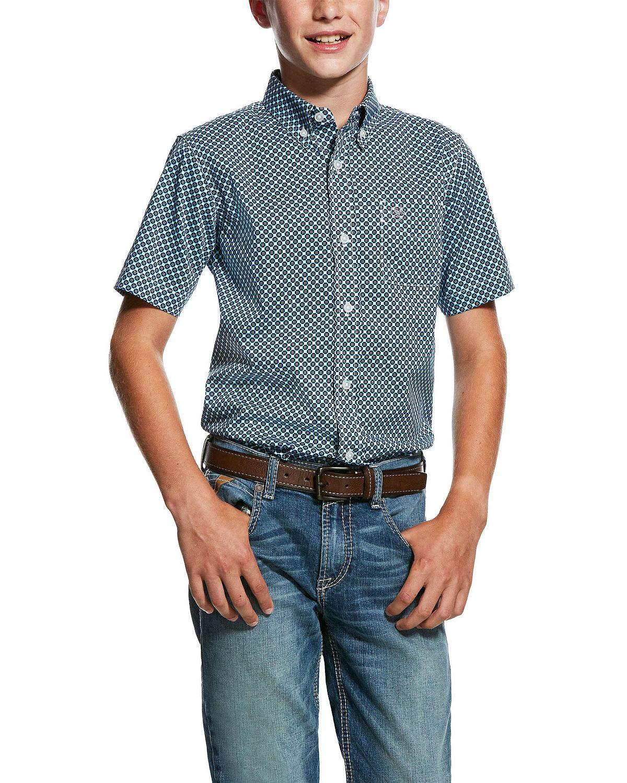 ARIAT Boys' Murino Stretch Geo Print Short Sleeve Western Shirt Blue X-Large