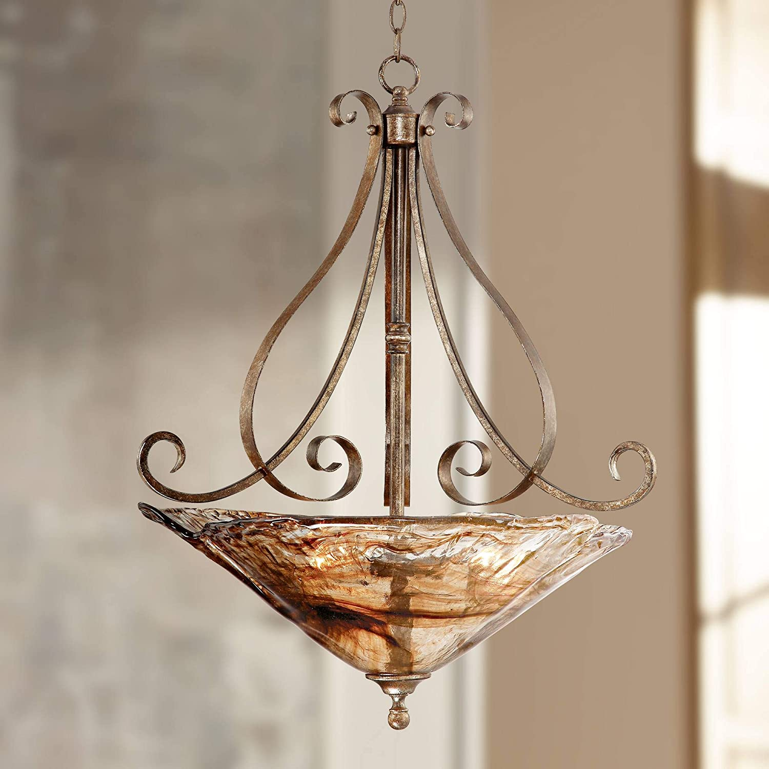 Franklin Iron Works Amber Scroll 24 3 4 Wide Pendant Light – Franklin Iron Works