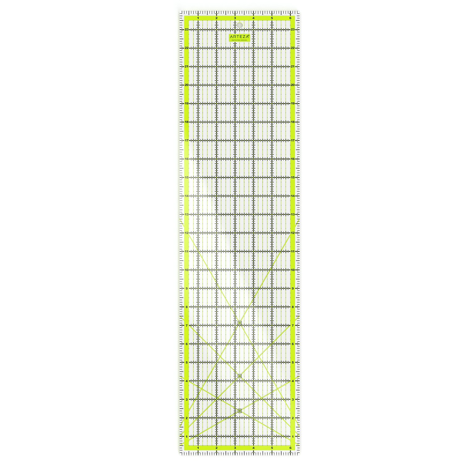 ARTEZA Quilting Ruler, Laser Cut Acrylic Quilters' Ruler with Patented Double Colored Grid Lines for Easy Precision Cutting, 6.5'' Wide x 24'' Long for Quilting, Sewing & Crafts, Black & Lime Green by ARTEZA